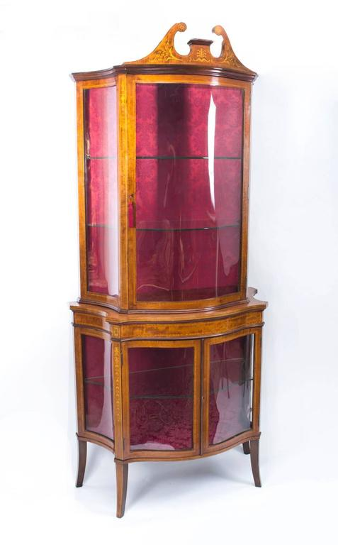 Early 20th Century Edwardian Inlaid Display Cabinet For Sale 4