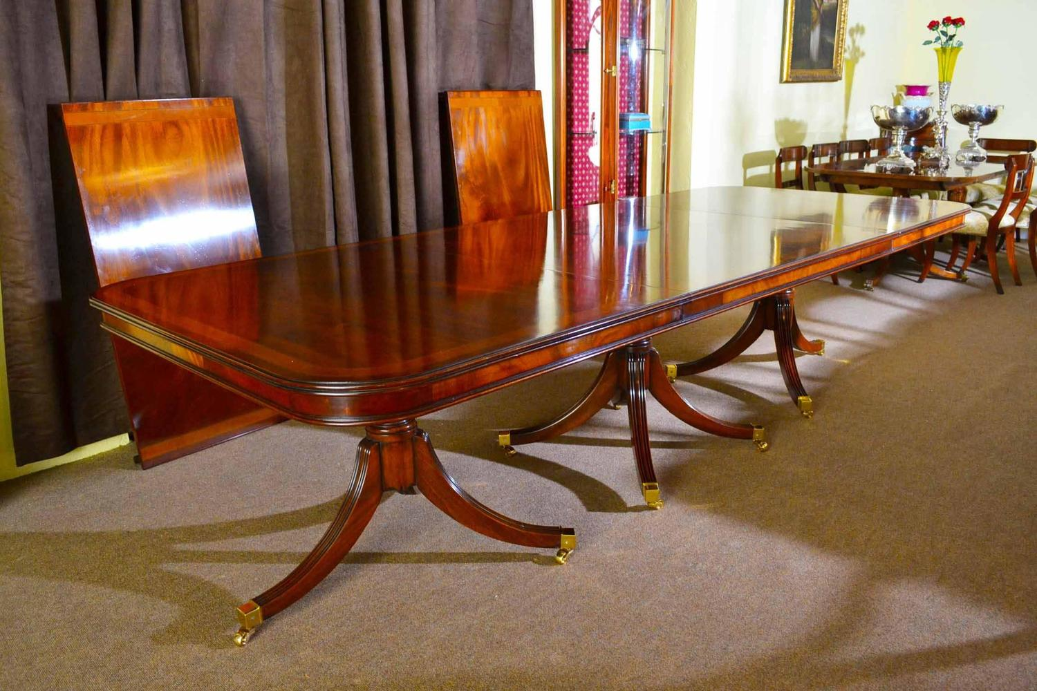 Regency style dining table inlaid flame mahogany for sale for 10 ft dining table sale