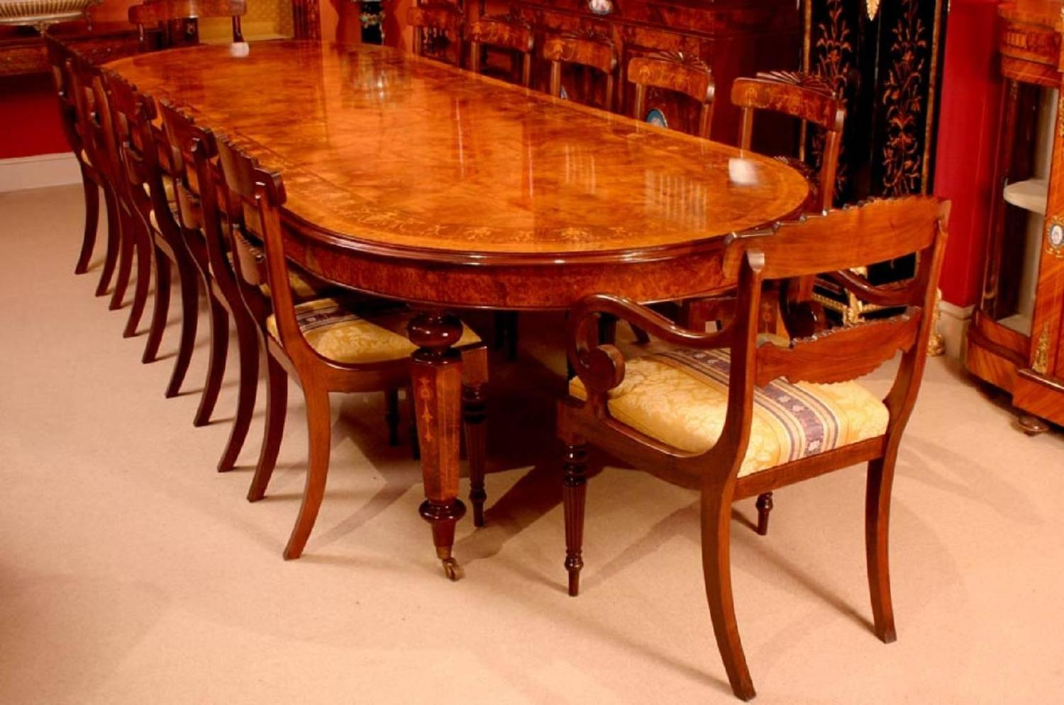 Victorian style burr walnut marquetry dining table for for Dining room tables victorian