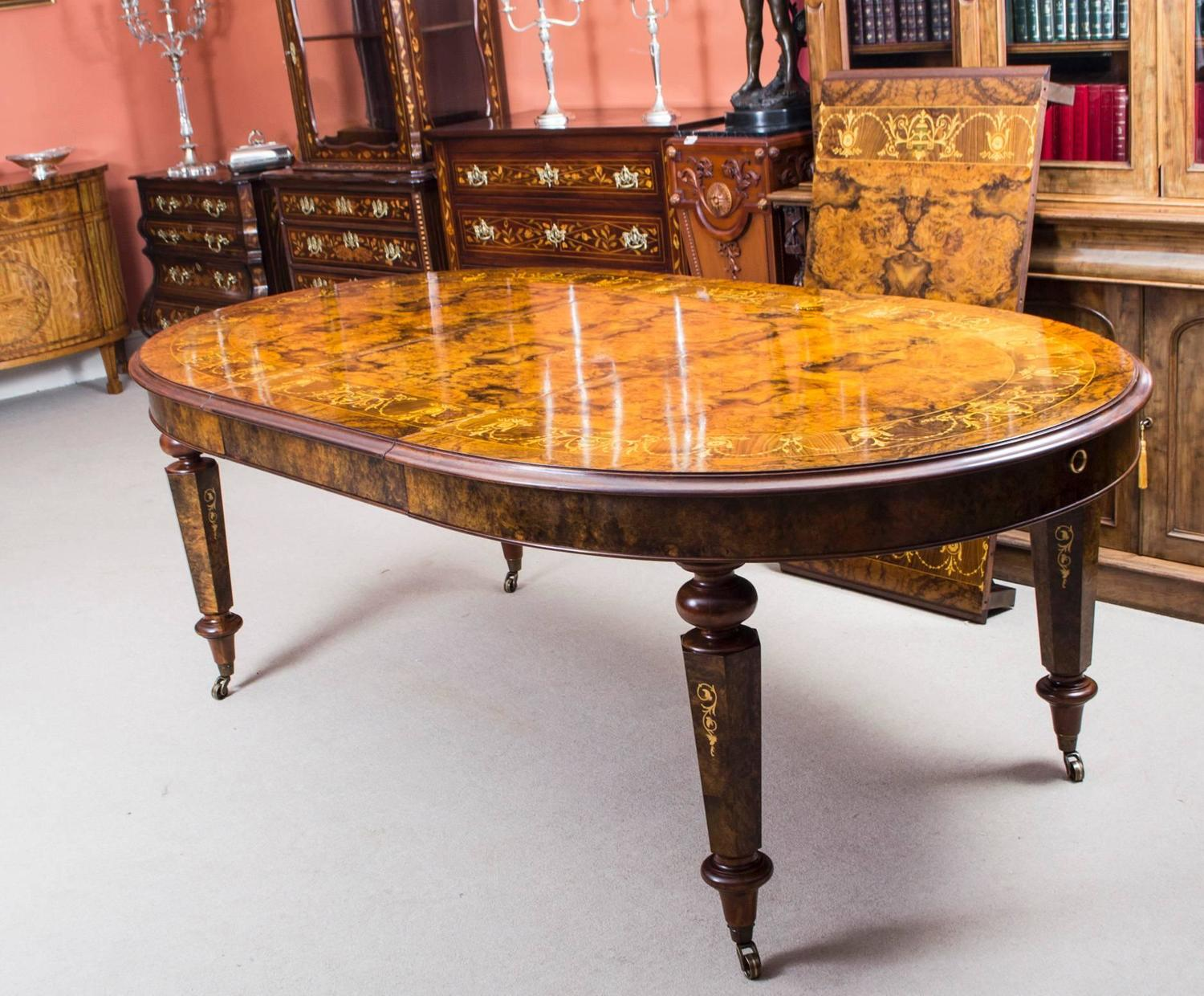 Stunning burr walnut 10ft oval marquetry dining table for for 5 foot dining room table
