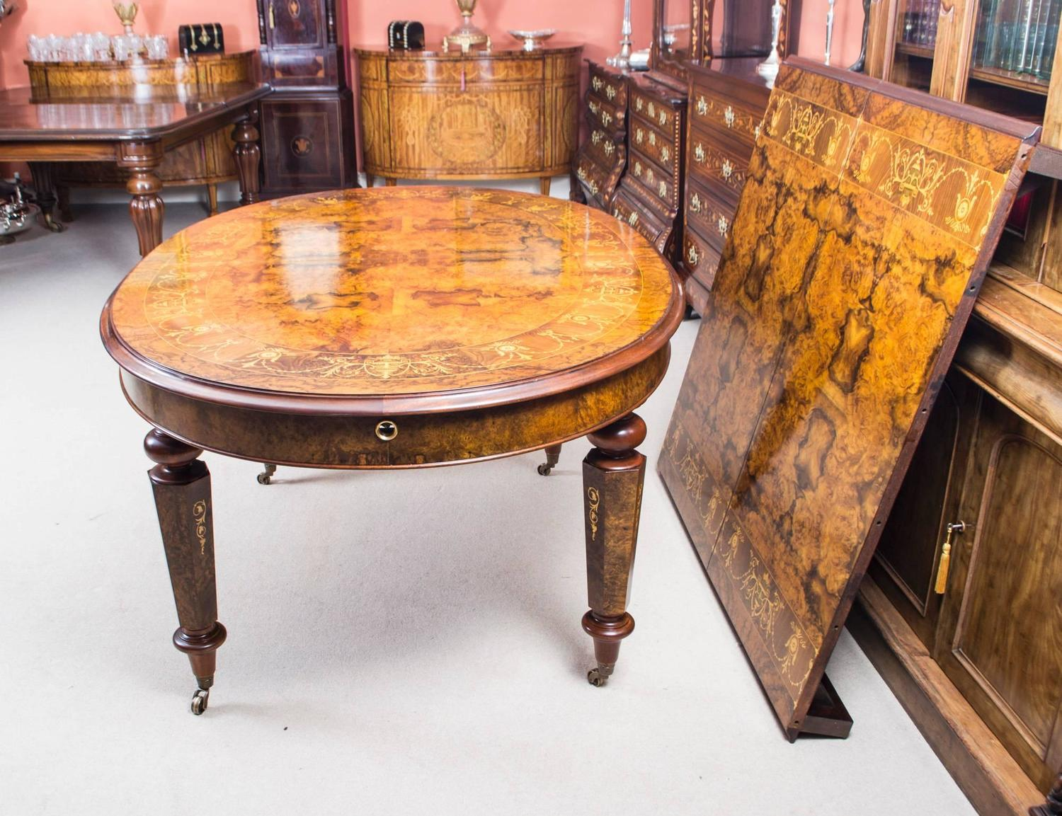 Stunning burr walnut 10ft oval marquetry dining table for for 10 ft dining table sale