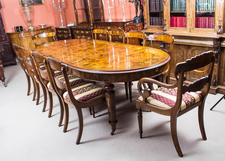 Stunning Bespoke Handmade Burr Walnut Marquetry Dining Table 10 Chairs For 5