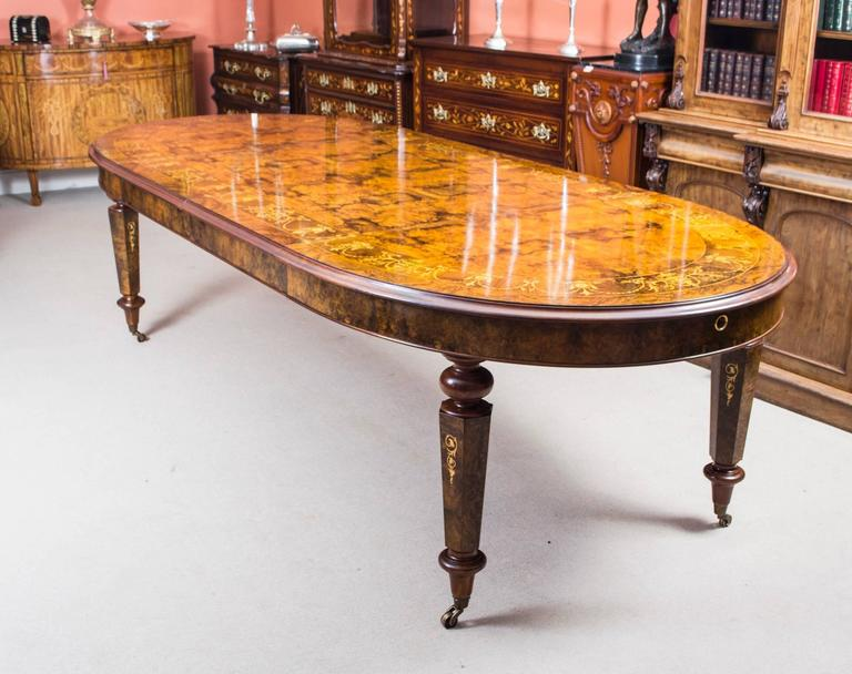 Italian Stunning Bespoke Handmade Burr Walnut Marquetry Dining Table 10 Chairs For Sale