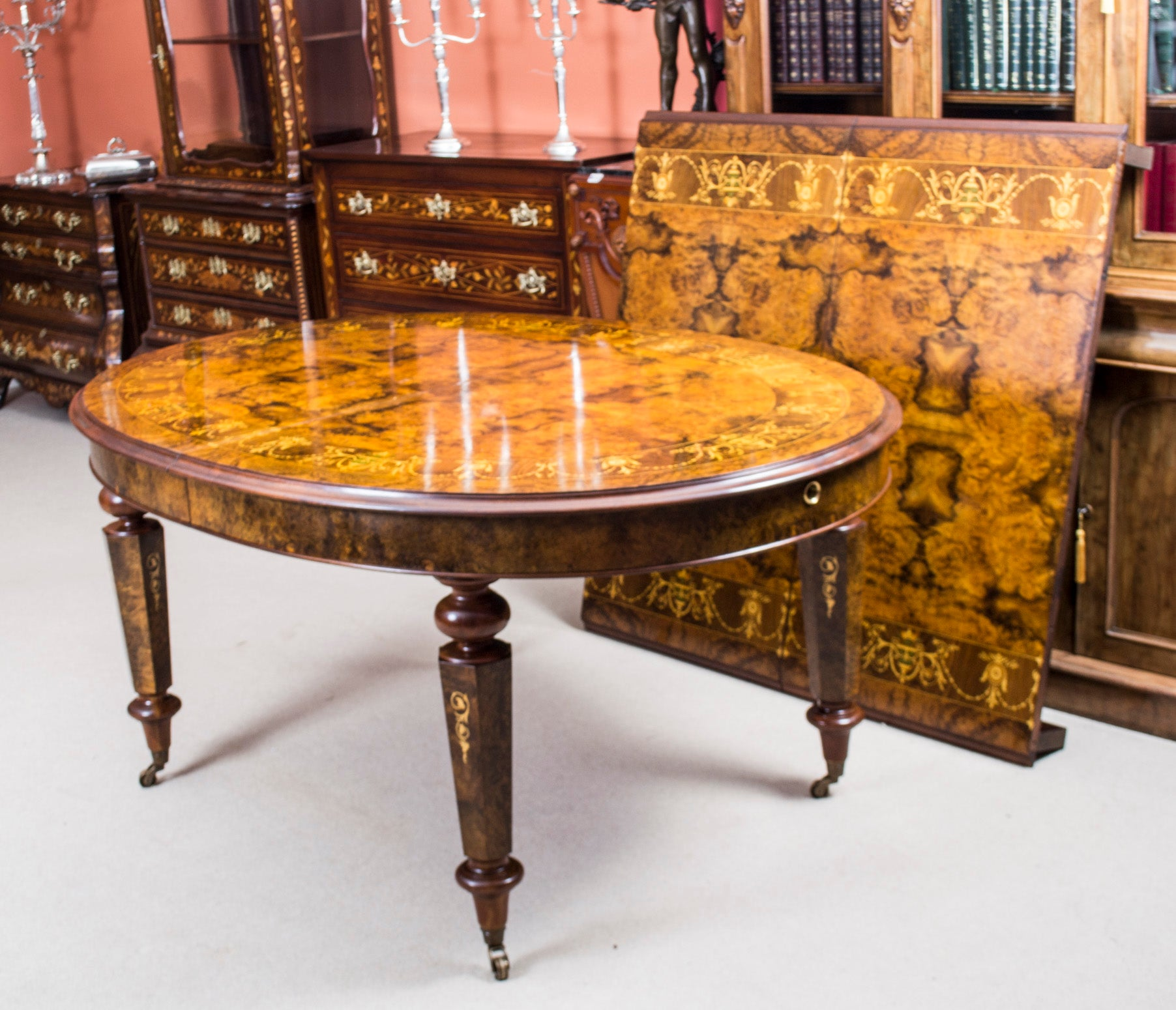 Stunning Art Deco Style Dining Center Marquetry Table Furniture