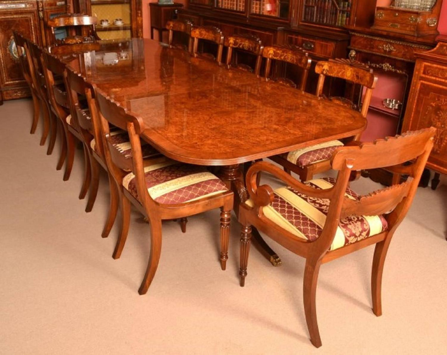 Burr walnut regency style twin pillar dining table for for 7 foot dining room table
