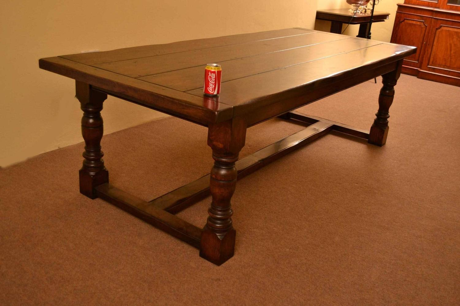 English solid oak refectory dining table for sale at 1stdibs for 9 foot dining room table