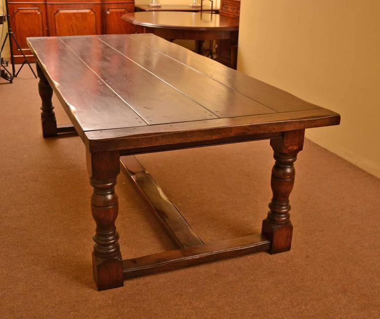 Vintage English Solid Oak Refectory Dining Table 8 Ft 6 X