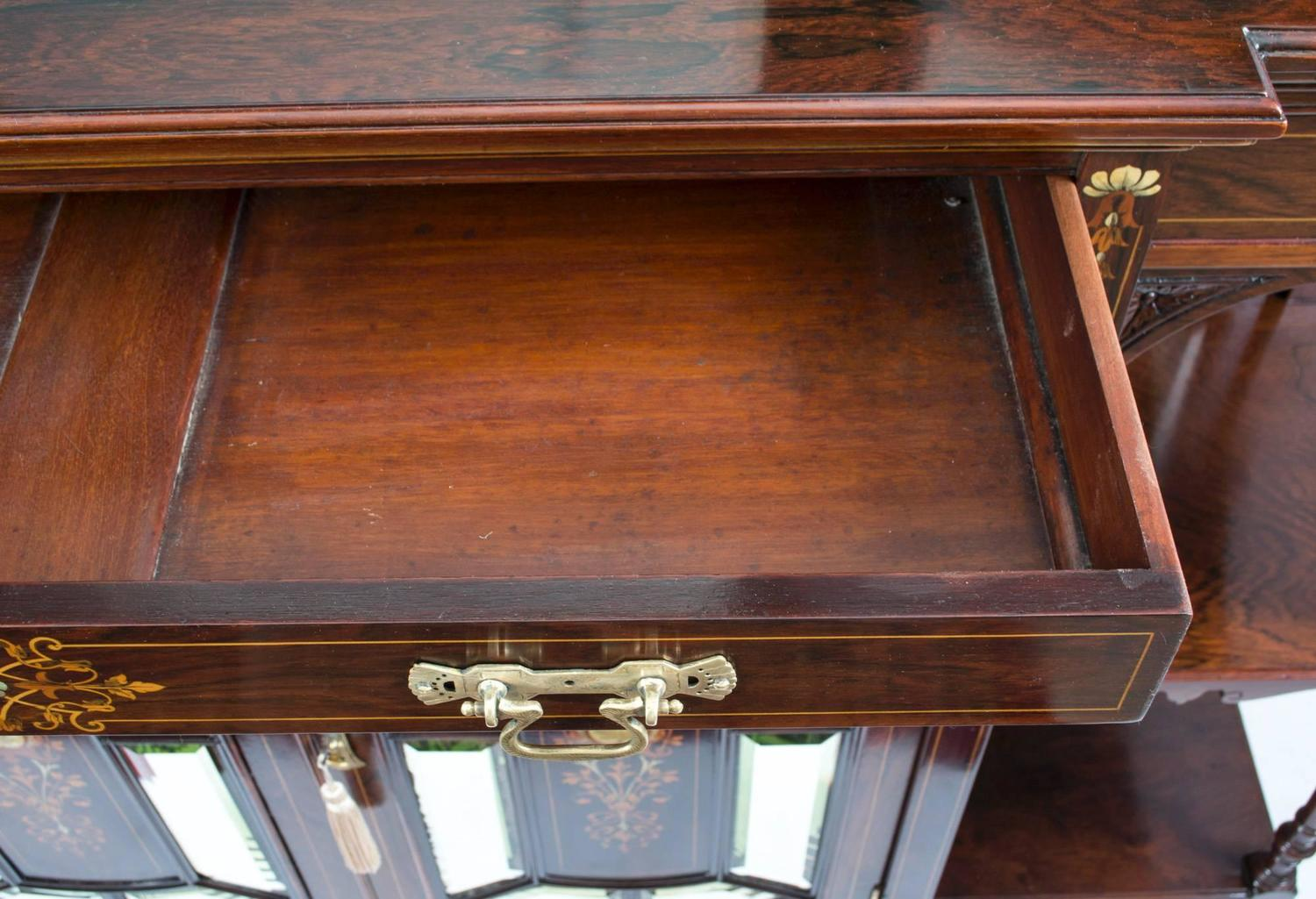 Antique victorian inlaid rosewood cabinet circa 1890 for for 1890 kitchen cabinets