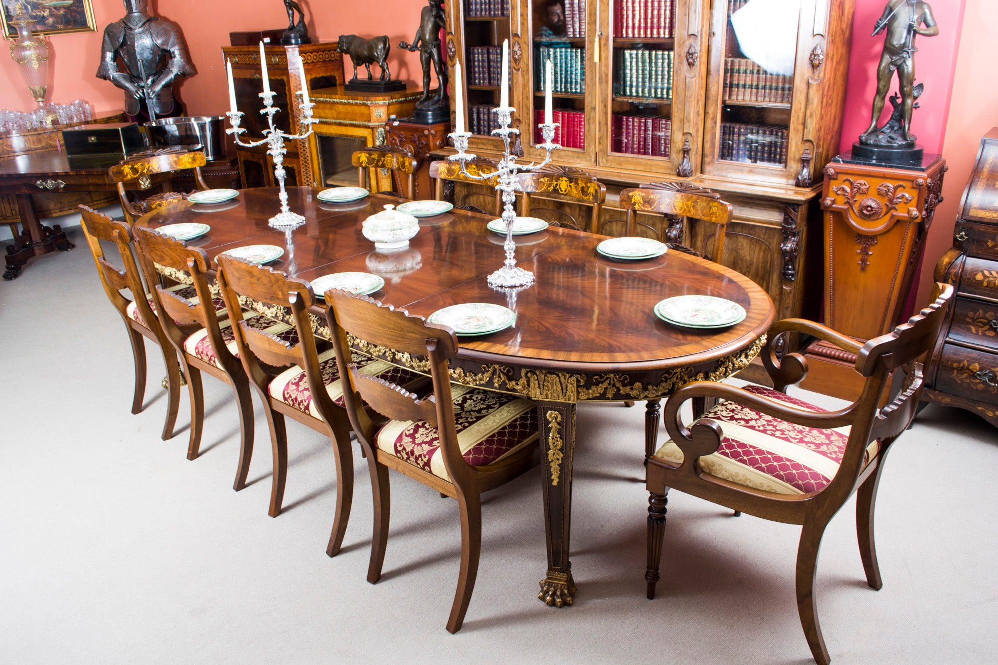 Antique ormolu mounted flame mahogany dining table circa 1920 at antique ormolu mounted flame mahogany dining table circa 1920 at 1stdibs dzzzfo