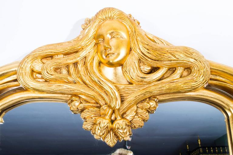 Beautiful french art nouveau carved giltwood mirror for for Miroir art nouveau