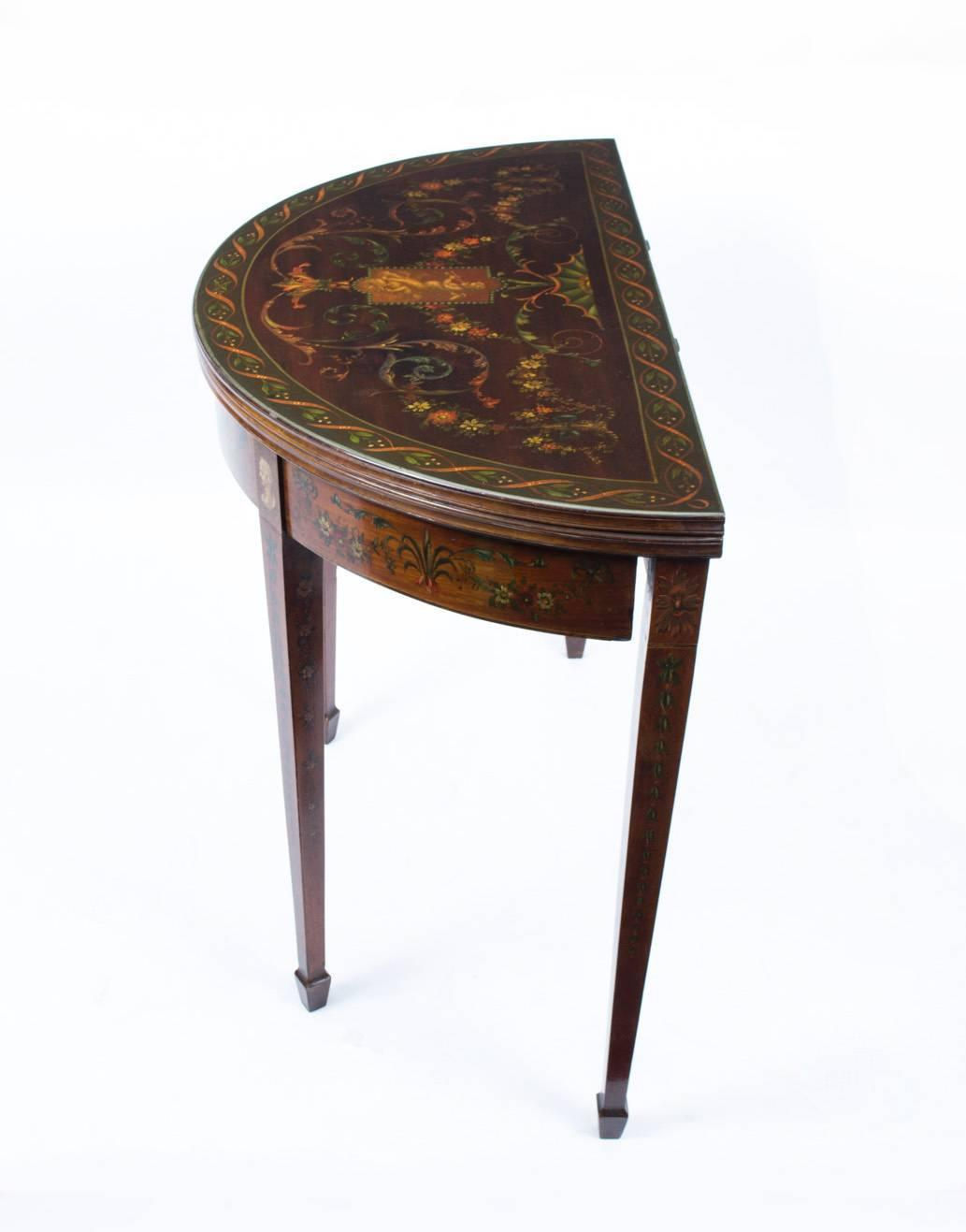 Antique half moon card console table circa 1870 for sale for 10 inch depth console table