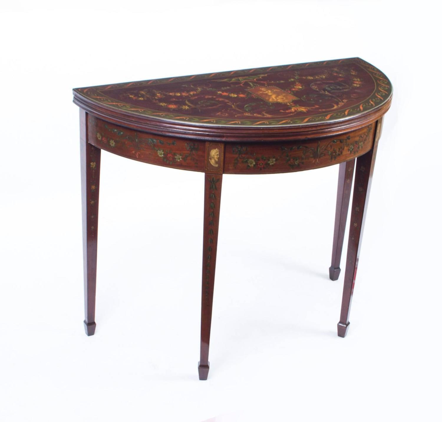 antique half moon card console table circa 1870 for sale at 1stdibs. Black Bedroom Furniture Sets. Home Design Ideas
