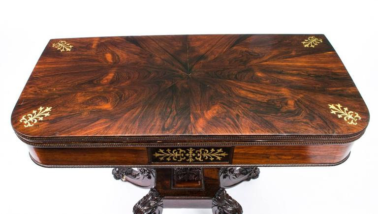 Superior 19th Century Regency Rosewood Brass Inlaid Card Table 3