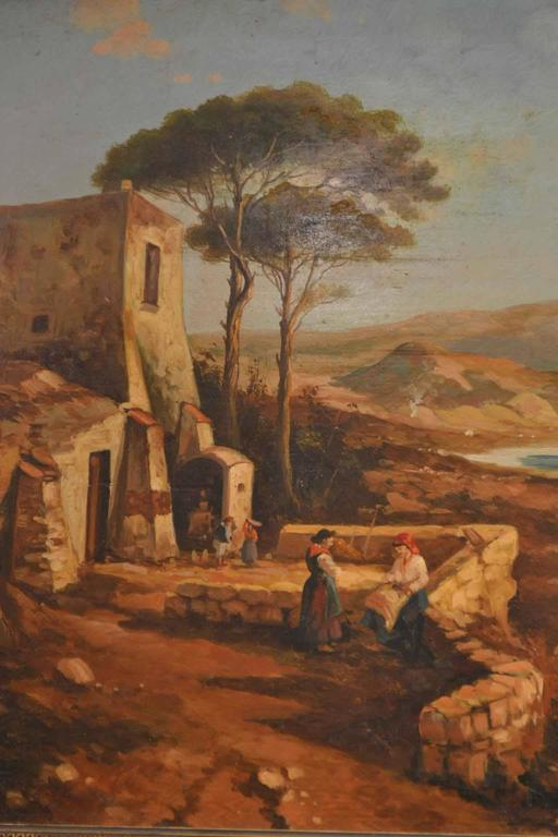 19th Century Painting Neapolitan Landscape Postiglione For