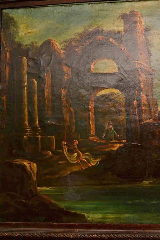 Antique Oil Painting Landscape Ruins 19th C In Excellent Condition For Sale In London, GB