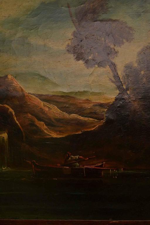 Canvas Antique Oil Painting Landscape Ruins 19th C For Sale