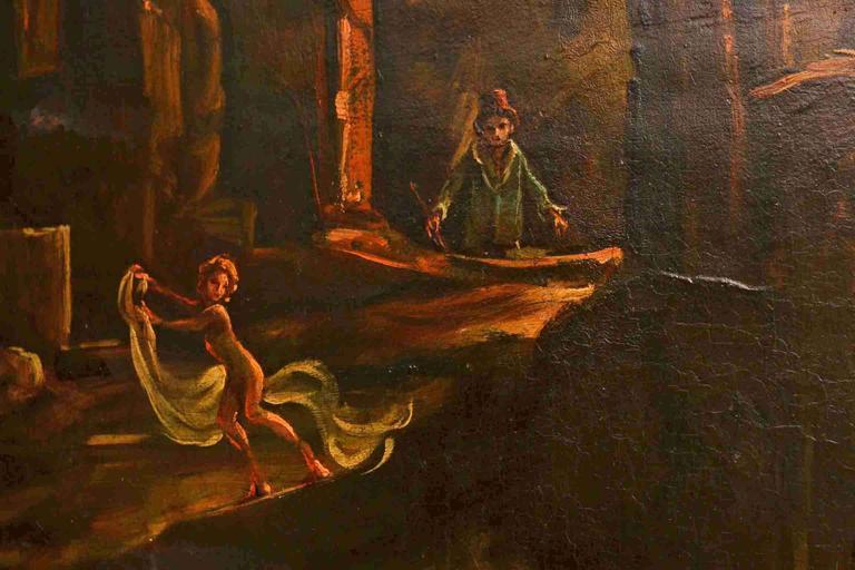 Antique Oil Painting Landscape Ruins 19th C For Sale 1