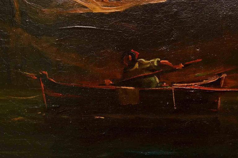 Antique Oil Painting Landscape Ruins 19th C For Sale 2