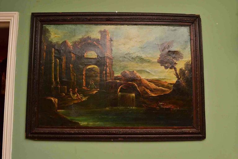 Antique Oil Painting Landscape Ruins 19th C For Sale 3