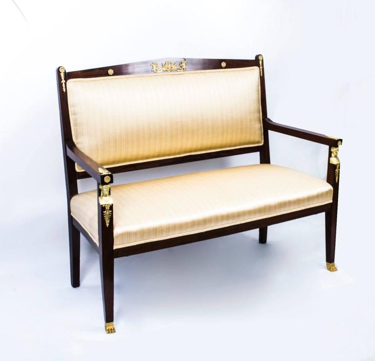 Antique French Empire Revival Mahogany Three-Piece Salon Suite  19th C In Excellent Condition For Sale In London, GB
