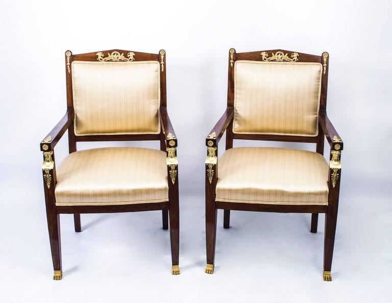 Ormolu Antique French Empire Revival Mahogany Three-Piece Salon Suite  19th C For Sale