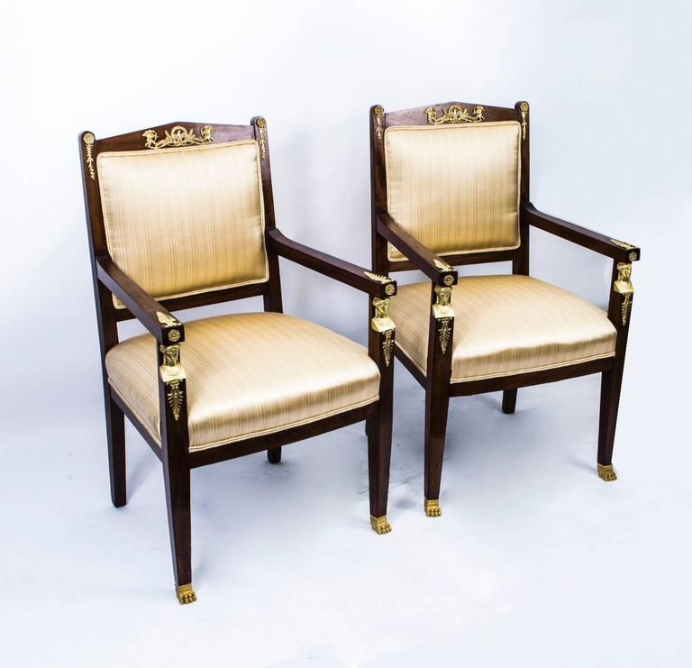 Antique French Empire Revival Mahogany Three-Piece Salon Suite  19th C For Sale 1