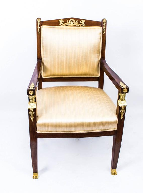 Antique French Empire Revival Mahogany Three-Piece Salon Suite  19th C For Sale 2