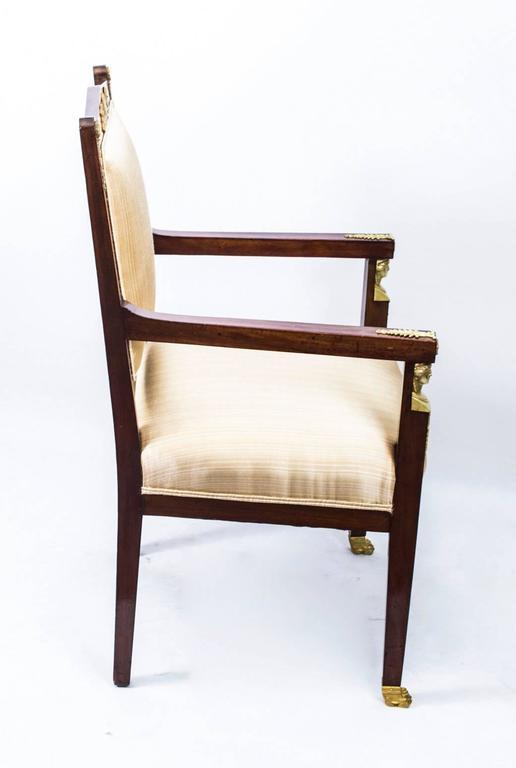 Antique French Empire Revival Mahogany Three-Piece Salon Suite  19th C For Sale 3