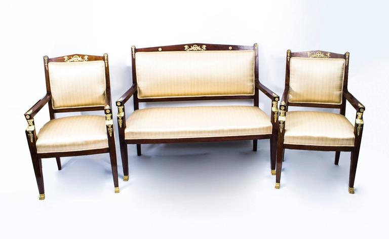 Antique French Empire Revival Mahogany Three-Piece Salon Suite  19th C For Sale 5