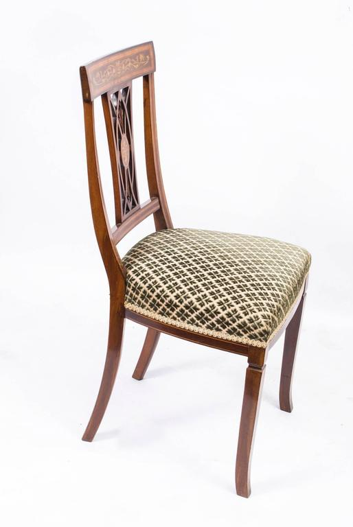 British Antique Set of Six Edwardian Inlaid Mahogany Dining Chairs, circa  1900 For Sale - Antique Set Of Six Edwardian Inlaid Mahogany Dining Chairs, Circa