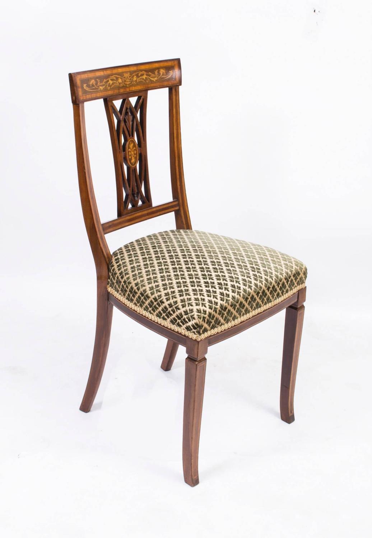 Antique Set Of Six Edwardian Inlaid Mahogany Dining Chairs Circa 1900 At 1st