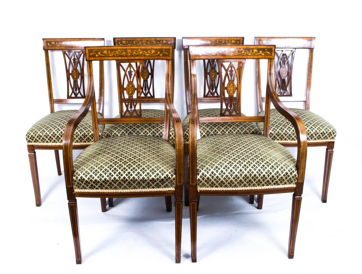 Antique set of six edwardian inlaid mahogany dining chairs for Mahogany dining room furniture