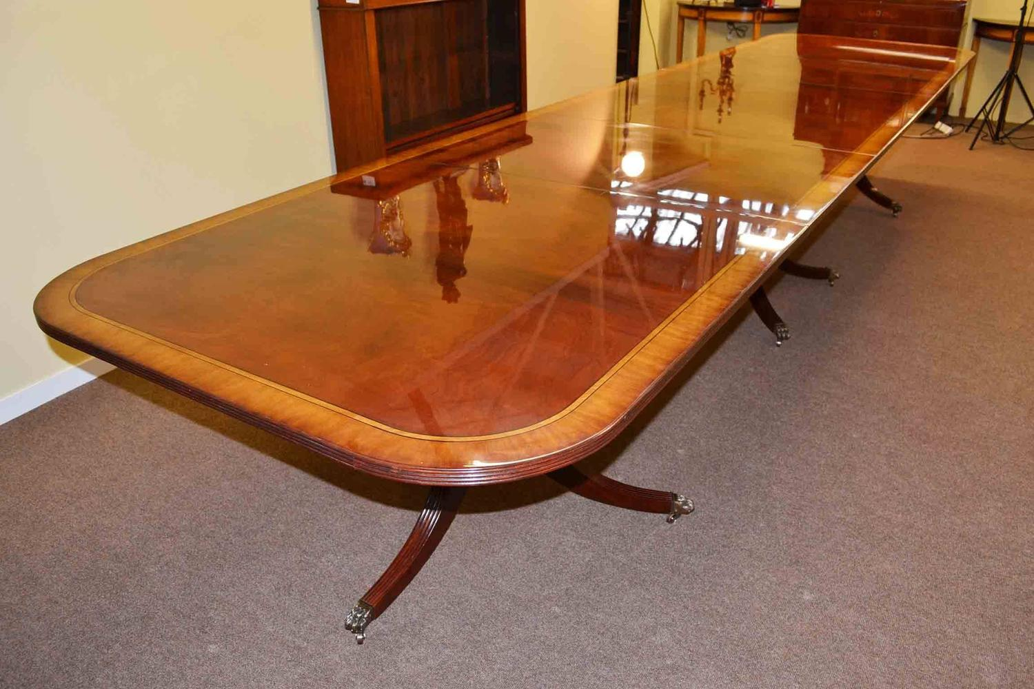 Regency dining table and 16 chairs flame mahogany for sale for 7 foot dining room table
