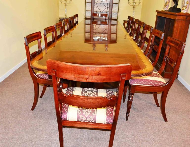 Regency Dining Table And 16 Chairs Flame Mahogany For Sale