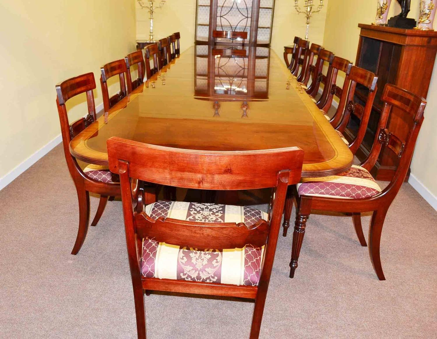 Regency dining table and 16 chairs flame mahogany for sale at 1stdibs for Regency furniture living room sets