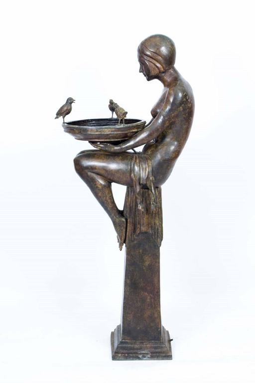Huge Bronze Art Deco Jardinière on Stand For Sale at 1stdibs