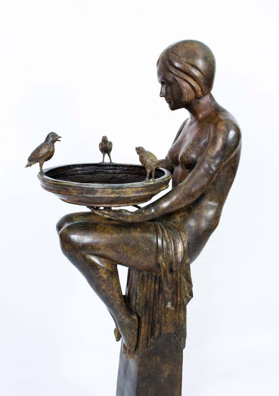 huge bronze art deco jardini re on stand for sale at 1stdibs. Black Bedroom Furniture Sets. Home Design Ideas
