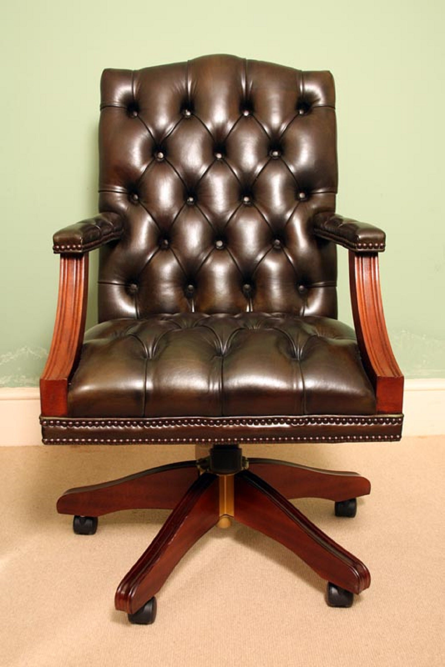 English Handmade Gainsborough Leather Desk Chair Green For At 1stdibs