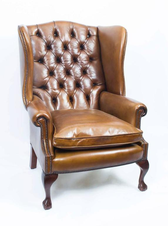 Bon English Leather Chippendale Wing Chair Armchair Cognac For Sale