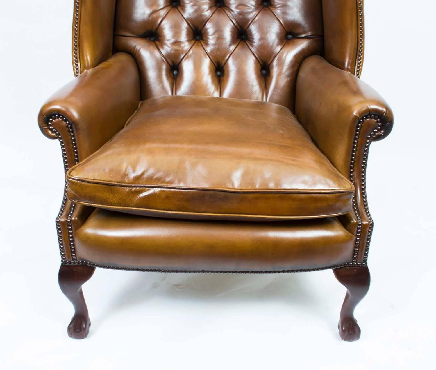 Leather Chippendale Wing Chair Armchair Cognac For Sale At 1stdibs