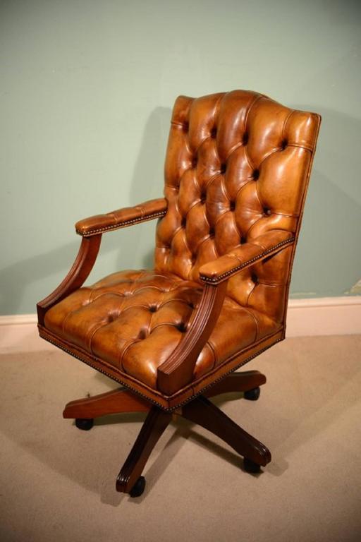 English Handmade Gainsborough Leather Desk Chair Cognac 2