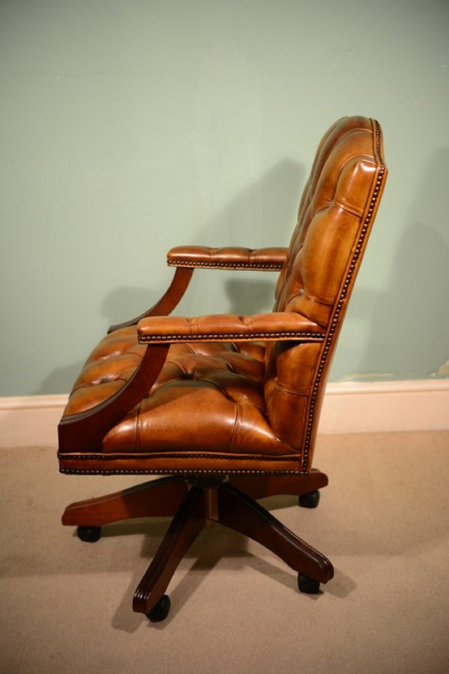 English Handmade Gainsborough Leather Desk Chair Cognac For Sale At 1stdibs