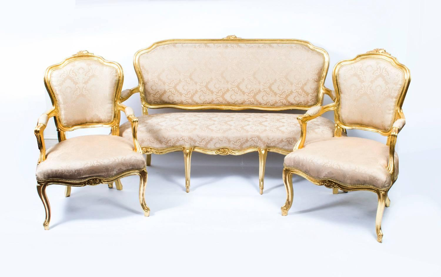 French Louis Xv Style Giltwood Sofa And Pair Of Armchairs