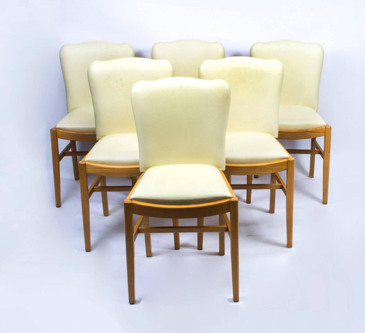 Maple Dining Chairs ~ Antique art deco bird s eye maple dining table and six