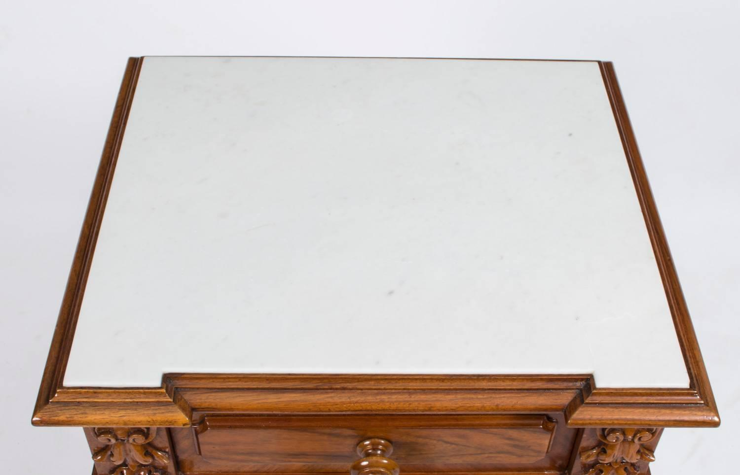 Antique pair of french walnut bedside cabinets circa 1880 for 5 gorgeous pairs for antique white cabinets