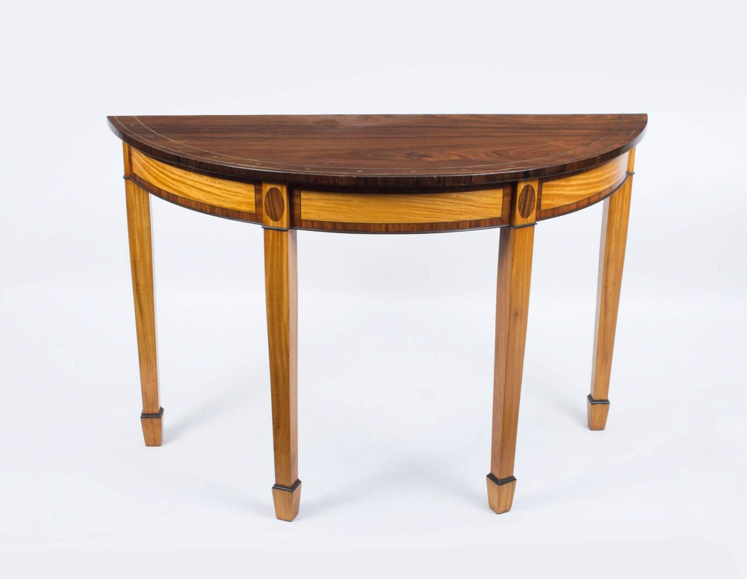 Antique pair of regency style console tables circa 1900 for 10 inch depth console table