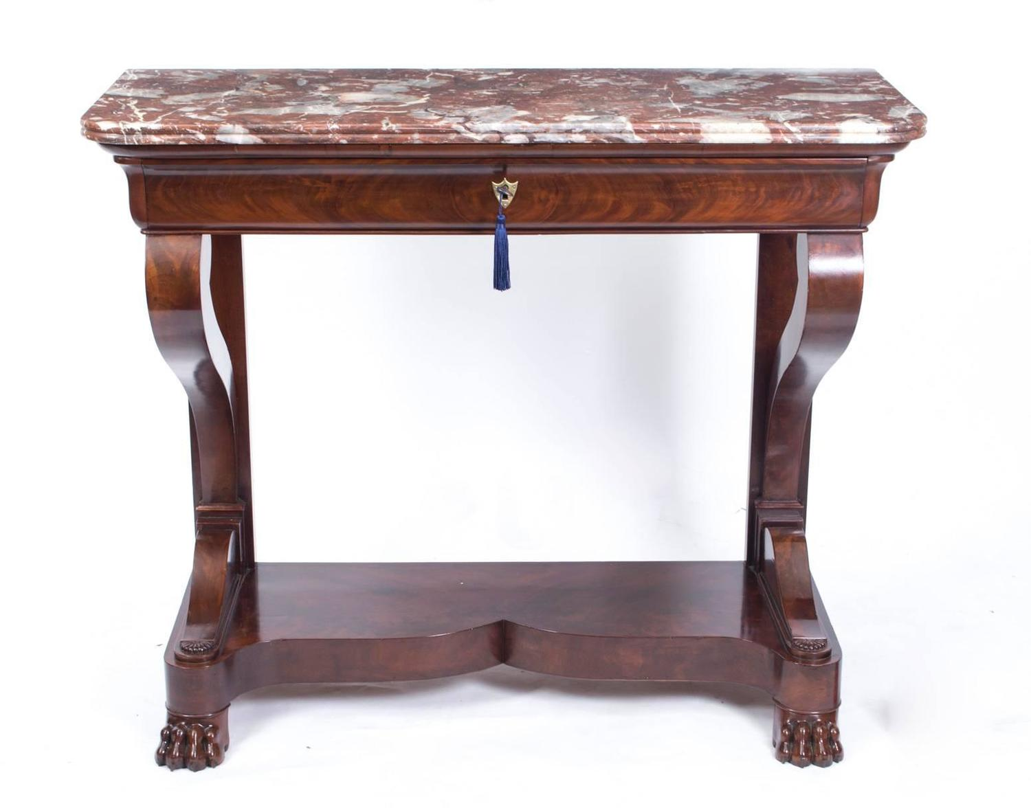 Antique french charles x mahogany console table circa for 10 inch depth console table