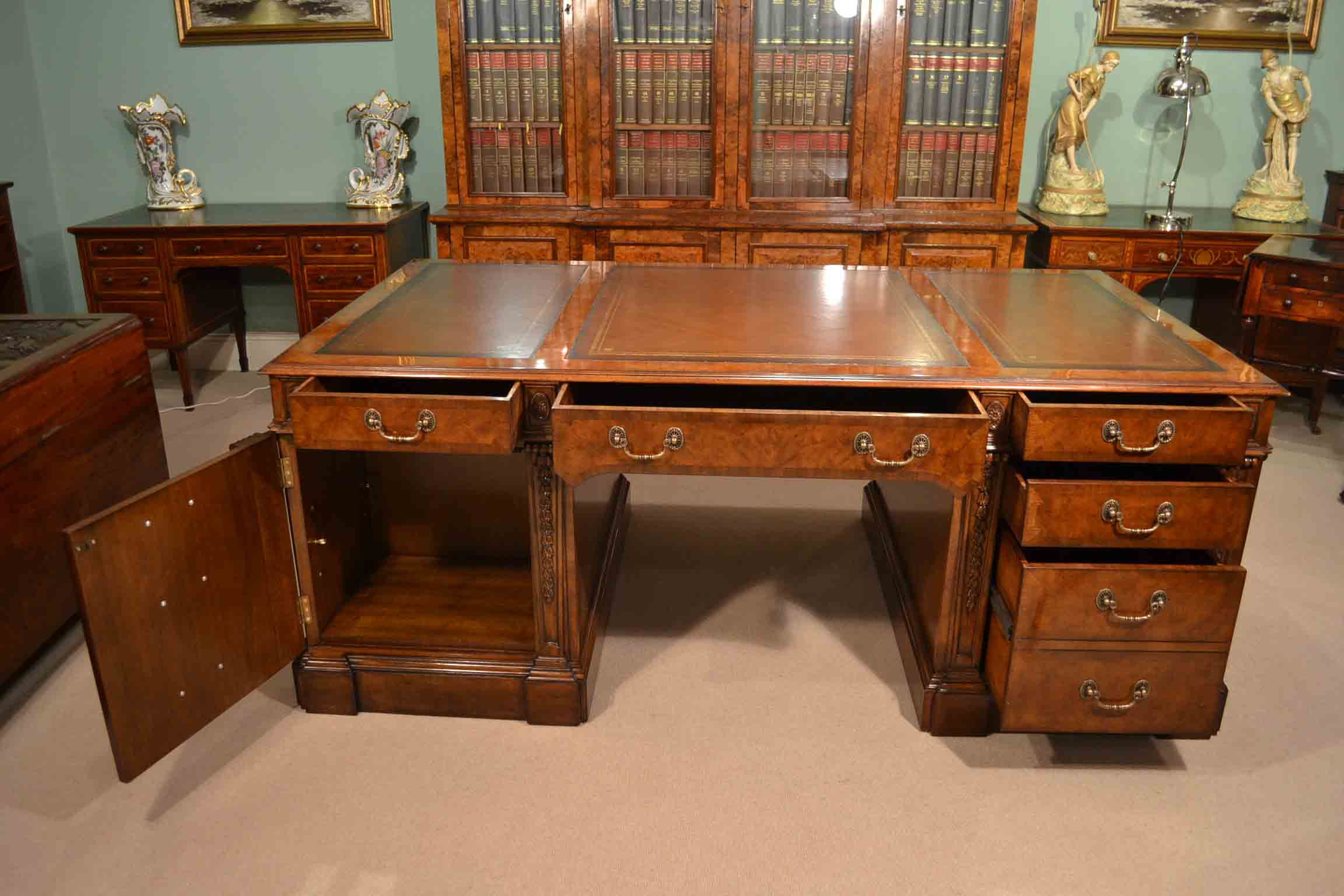 Burr Walnut Partners Pedestal Desk In Victorian Style For At