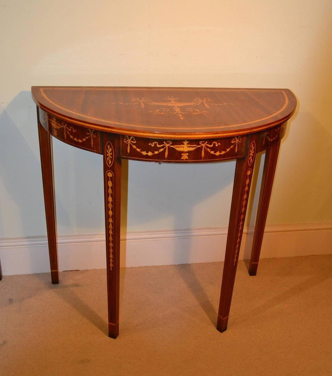 Pair of sheraton style mahogany half moon console tables for 10 inch depth console table