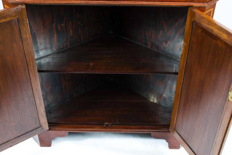 Antique Victorian Inlaid Two Door Corner Cabinet 19th C